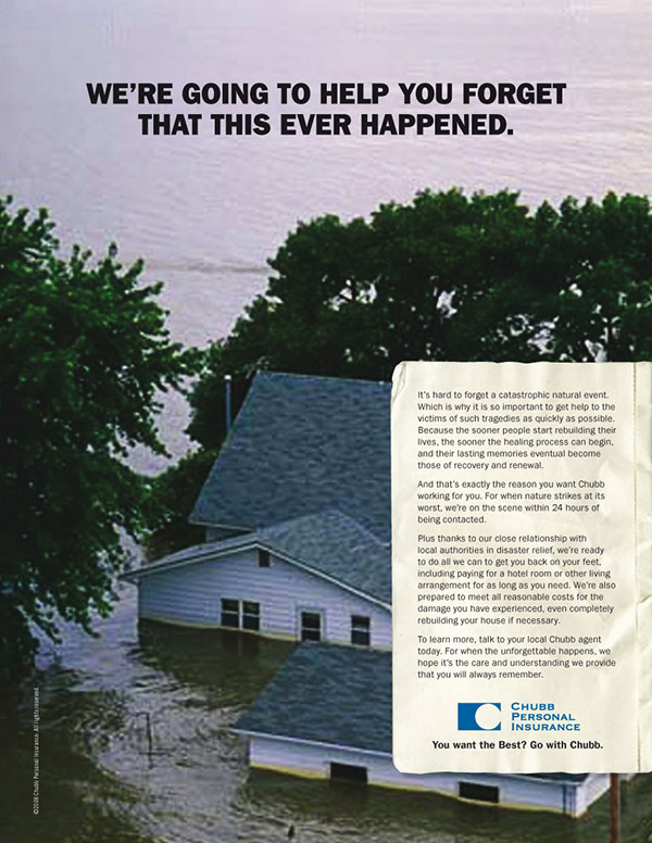Chubb Insurance print ad catastrophic event 3