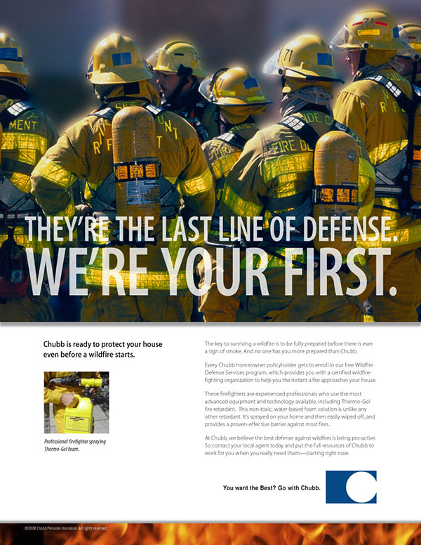 Chubb Insurance print ad wildfire 1