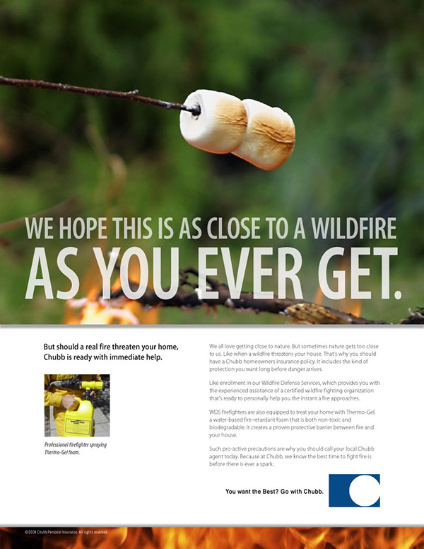 Chubb Insurance print ad wildfire 2