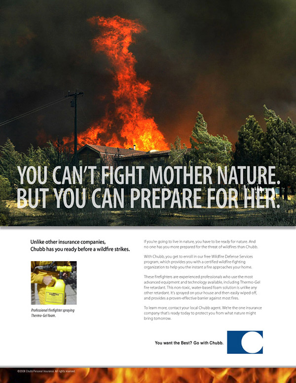 Chubb Insurance print ad wildfire 3
